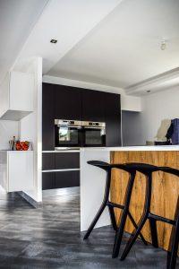 Kitchen with black