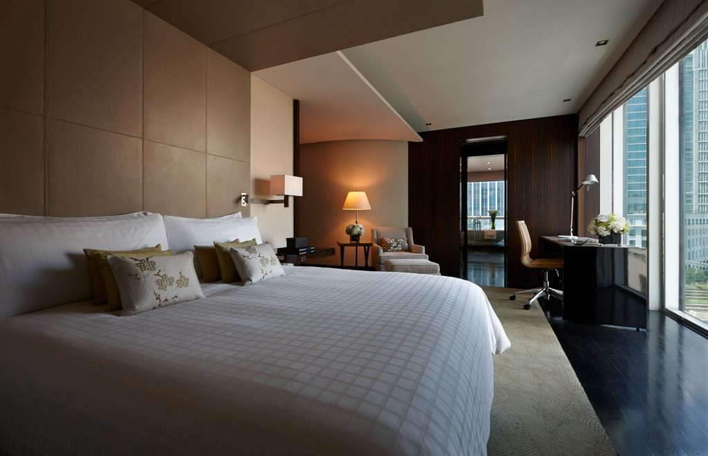 A look at the bedroom in the Chairman's Suite sits of the Four Seasons Tokyo