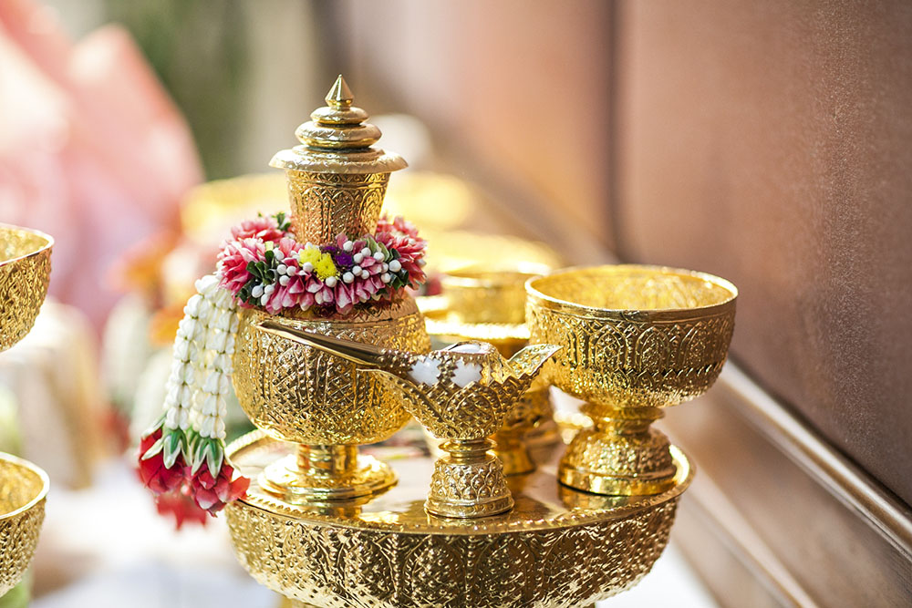 Traditional Thai Wedding ceremony atmoshphere decoration and artefacts. Thailand-Property.com