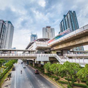 bangkok metro station at dusk