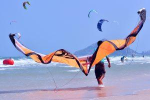 Kite surf or kite boarding at Huahin Thailand