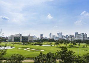 Golf course in the central of Bangkok , Thailand