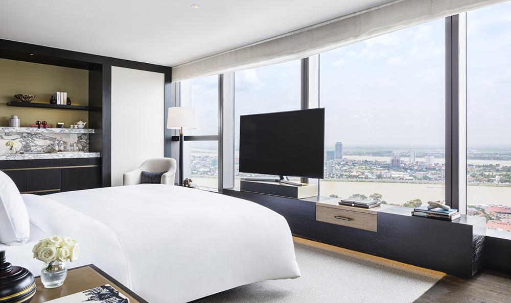 Go inside the hallmark hotel that occupies the top floors of Cambodia's tallest building