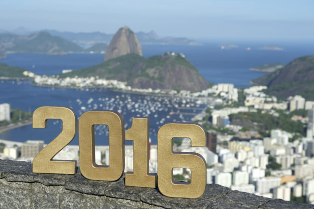 Rio 2016 Message in Gold Numbers City Skyline
