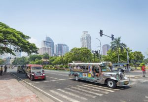 Jeepneys on the streets of Manila in the morning