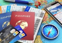 Travel necessities for expats: passports, credit cards, compass, map