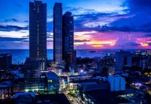 Pasay City buildings during twilight