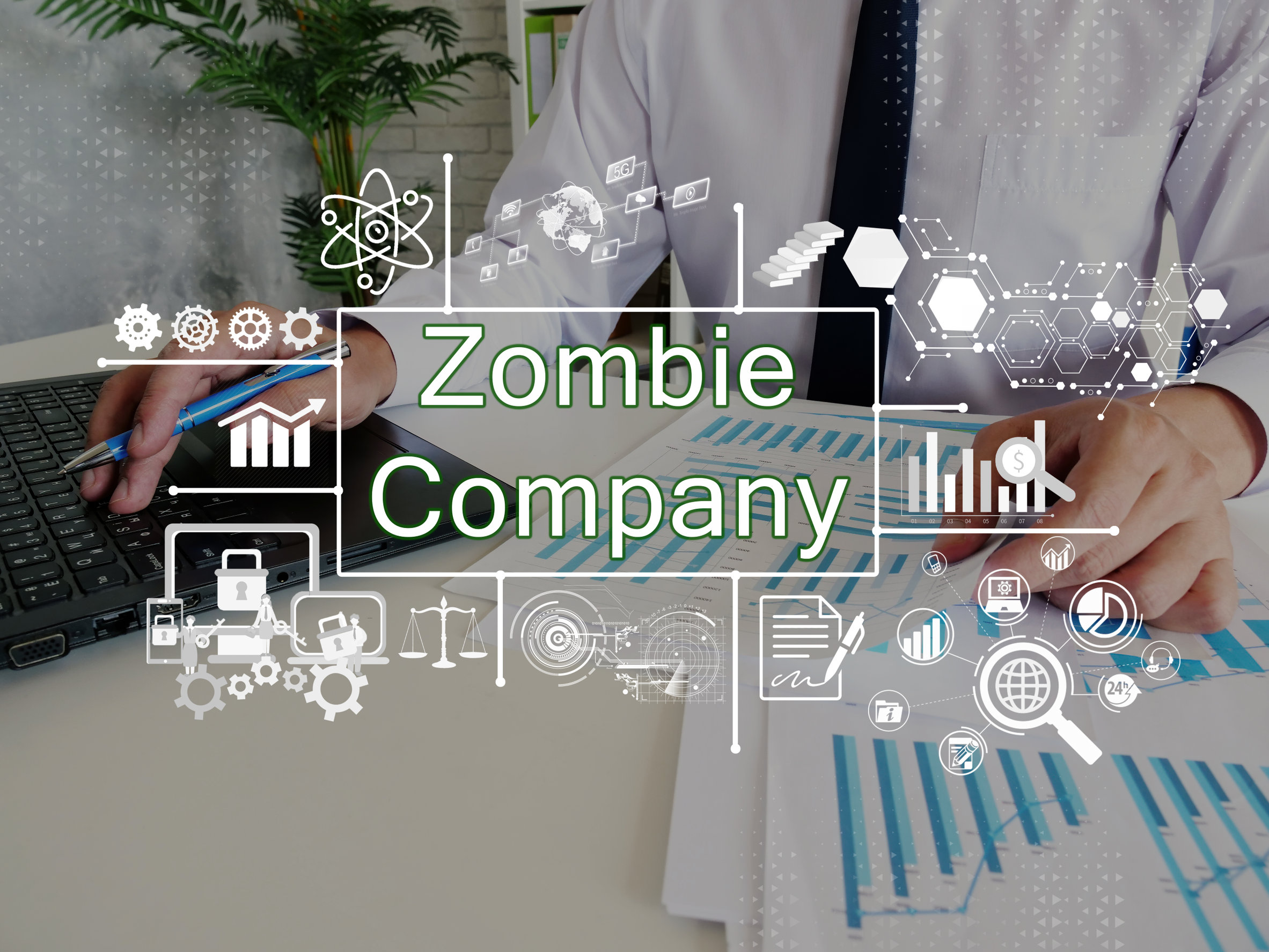 Financial concept about Zombie Company with sign on the piece o