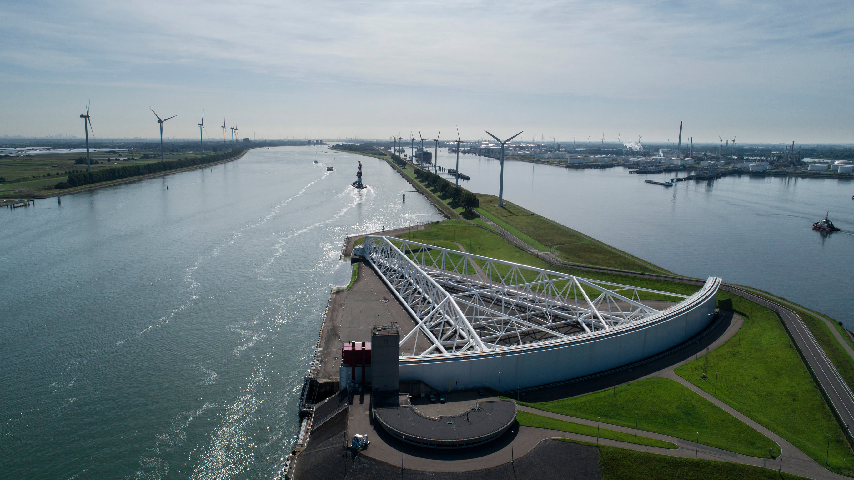 Aerial picture of Maeslantkering storm surge barrier on the Nieu